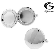 iGame Photo Frame Cuff Links Silver Color Copper Material Unique Round Photo Holder Design Free Shipping