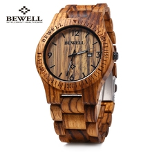 ZS-W086B Bewell Reloj De Madera de la Marca de Lujo de los hombres Movimiento de Cuarzo Analógico Fecha Impermeable Masculino del relogio masculino 2016