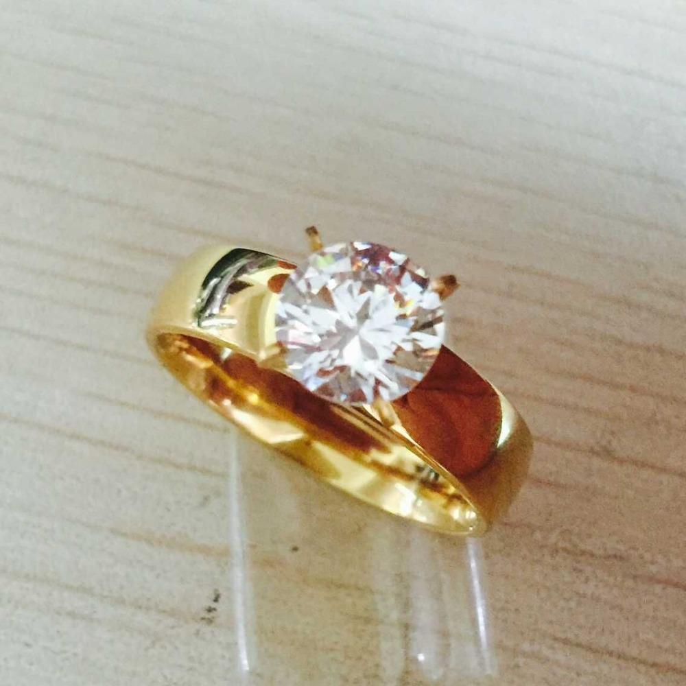 Large Zircon CZ gold color 316L Stainless Steel wedding finger ...