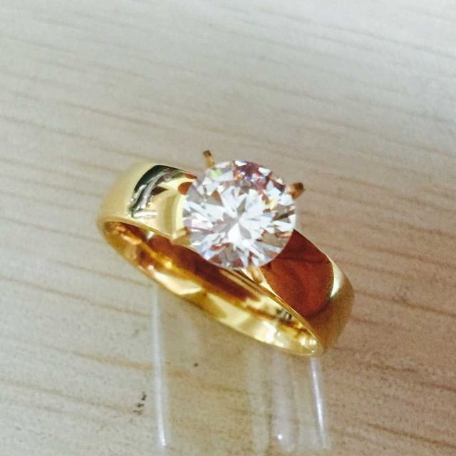 Large Zircon CZ Gold Color 316L Stainless Steel Wedding Finger Rings Men  Women Jewelry Wholesale Lots