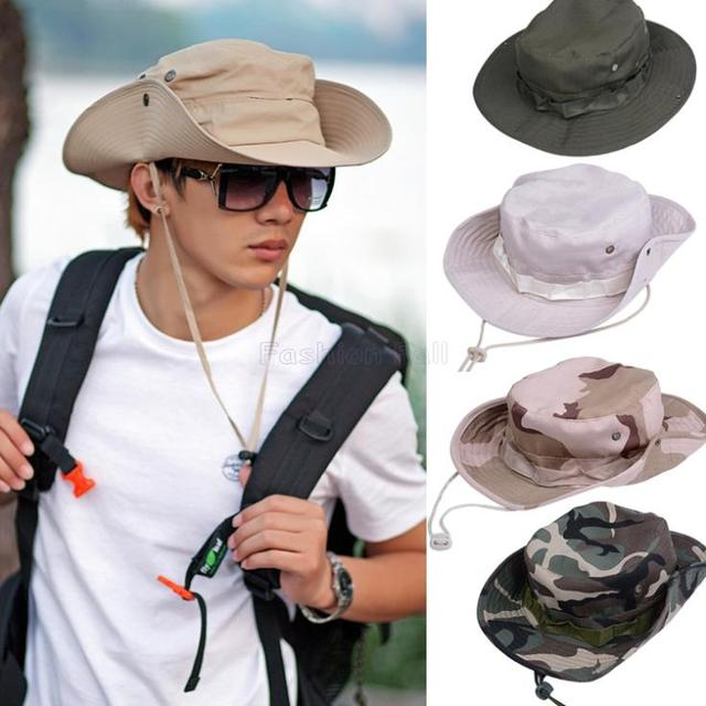 b46919dba2a New Bucket Hat Men Outdoor Fishing Hiking Boonie Snap Brim Military Sun  Hats Cap Camouflage Hats Camo Gorras Bone Chapeu ZDD