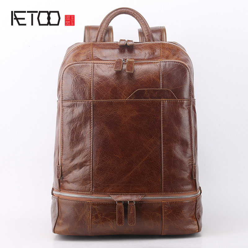 AETOO New leather  men backpack large genuine leather travel large capacity first layer leather shoulder bag aetoo retro shoulder bag genuine handmade men women casual travel backpack large capacity first layer leather