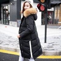 Large Real Raccoon Fur 2018 Women's Winter Coat White Duck Down Jackets Women's Parkas Hooded Woman Outwear Loose Clothing