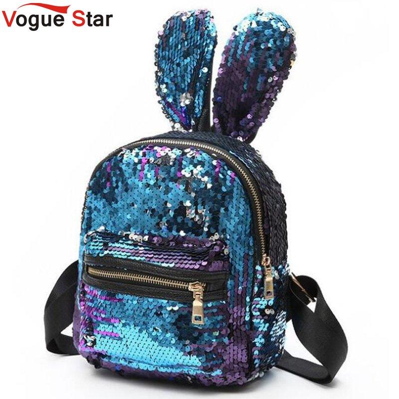 Mini Sequins Backpack Cute Rabbit Ears Shoulder Bag For Women Girls Travel Bag Bling Shiny Backpack Mochila Feminina LB669