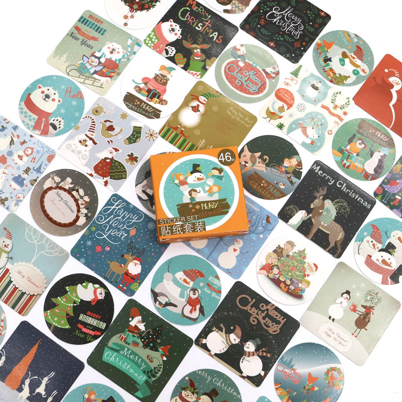 Christmas Greeting Stickers Travel Decorative Stationery Stickers Ocean whale sticker Scrapbooking DIY Diary Album 46pcs/box
