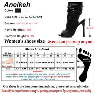 Image 5 - Aneikeh klasyczne PU kobiety botki pasek z klamrą Peep Toe drążą buty na cienkich wysokich obcasach buty kobieta seksowne sandały buty biały czarny