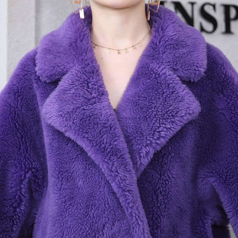 Femmes Longue Double Ultra Breasted Ours Manteau Violet Surdimensionné En Peluche Pardessus Nerazzurri Peau Réel 2019 Hiver Fourrure Agneau De Mouton Chaud Veste qXxdCn
