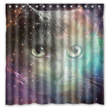 Customized Waterproof Bathroom Space Cat Shower Curtain Polyester Fabric Bath With 12 Hooks 180