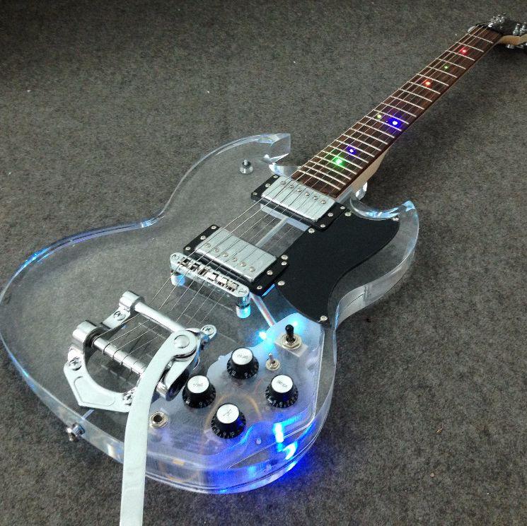 Lumière led cristal populaire guitare électrique bigsby pont coloré led acrylique guitare Grover tuning