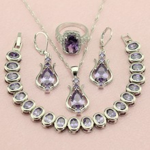 WPAITKYS Purple Egg Create Cubic Zirconia Silver Color Jewelry Sets Drop Earrings Pendant Necklace Ring For Women Free Gift Box