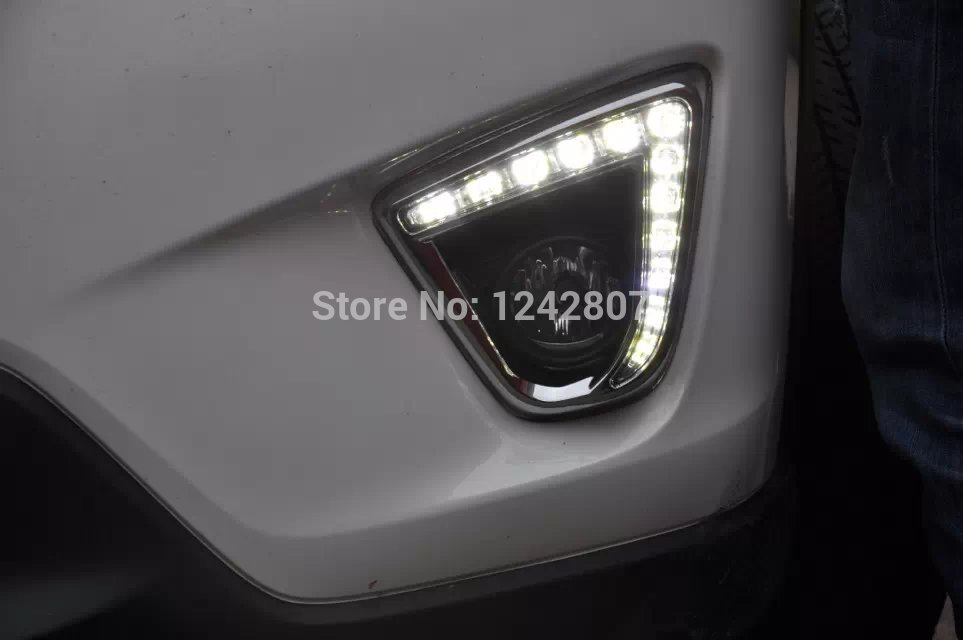eOsuns LED DRL daytime running light top quality for 2012 Mazda cx-5,novel design with projector lens and dimmer function free shipping for mazda 3 axela 2014 led drl daytime running light with dimmer function guiding light design matt black