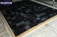 Natural Black Cow Hair Patchwork Rug For Living Room Parlour Original Cowhide Genuine Leather Rugs And