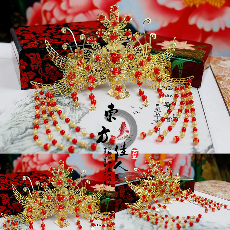 Gold Phoneix Bride Wedding Hair Tiaras with Long Tassel 00009 red gold bride wedding hair tiaras ancient chinese empress hair piece