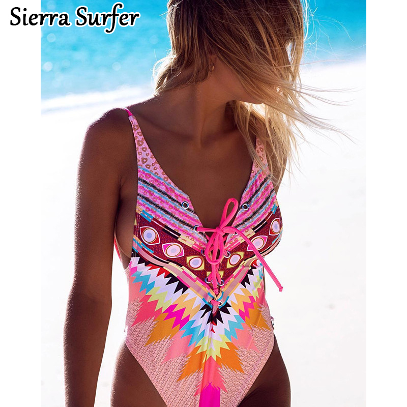 One Piece Swimsuit Bikini Girl Swimwear Women One-Piece 2018 New Sexy Print Intersecting Rope Detonating Biquini May Female ...