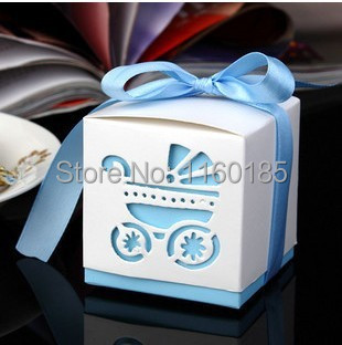Promotion 50pcs Light Blue Baby Carriage Candy Box Wedding Baby Shower Favor Paper Box Favour Gift Box