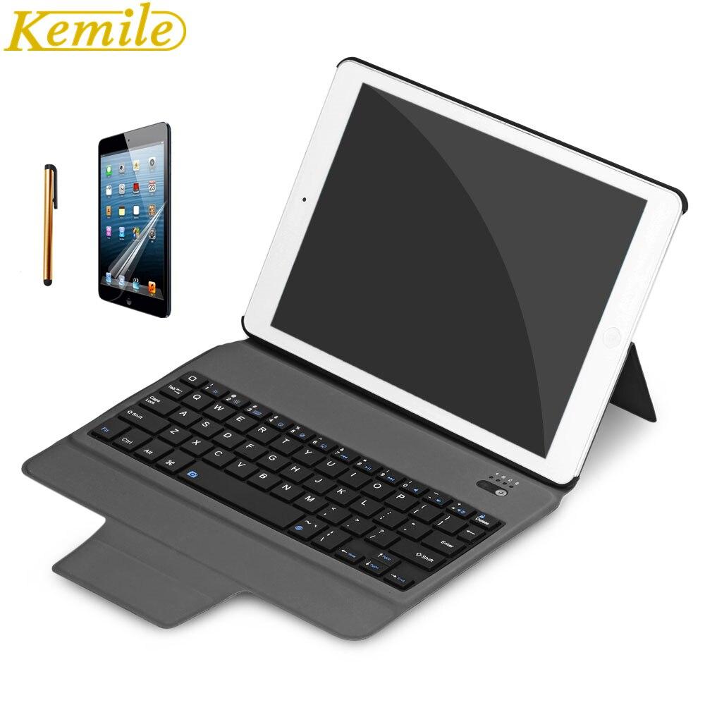 kemile Ultra Slim Bluetooth Keyboard For New iPad 2017 2018 9.7 W Stand Leather Case Cover For iPad Pro 9.7 tablet Keypad klavye mr northjoe ultra slim crystal hard case keyboard cover anti dust plug set for macbook pro 13 3