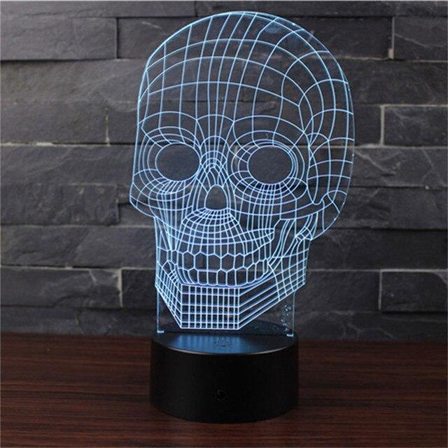 купить новинка светодиодный ночник 3d череп с Aa Usb две модели