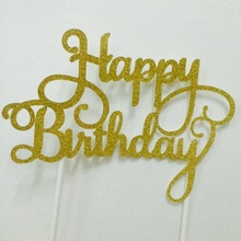 Gold/Silver Glitter Happy Birthday Cake Topper Calligraphy Party Decoration