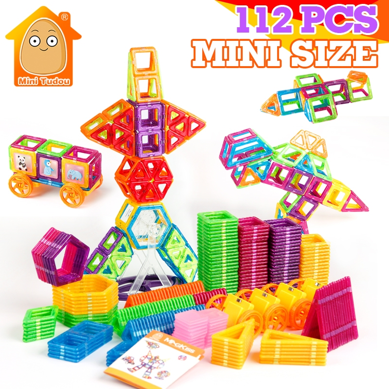 112PCS Mini Magnetic Designer Construction Set Model & Building Plastic Magnetic Blocks Educational Toys For Kids Gift mini 169pcs diy magnetic blocks toys construction model magnetic building blocks designer kids educational toys for children
