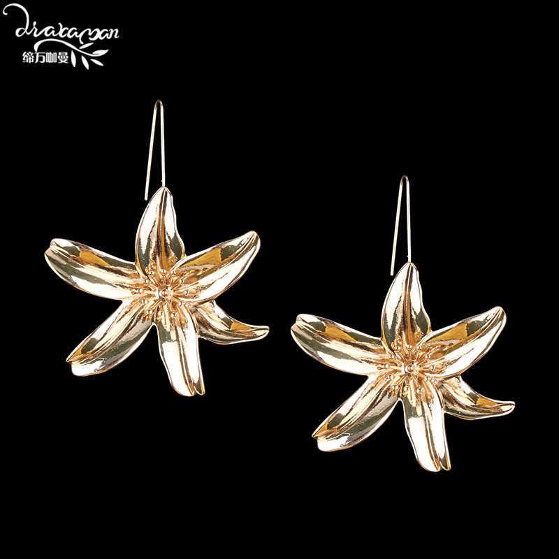 Dvacaman 2018 New Za Fashion Flower Metal Drop Earrings Women Bohemian Gold Color Maxi Dangle Drop Earrings Pendant Jewelry AG84