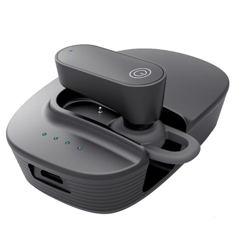 Car Bluetooth 5.0 Earphone Handsfree Earphone Music Headset Car Solar Bluetooth Earphone Mini with Charging Compartment