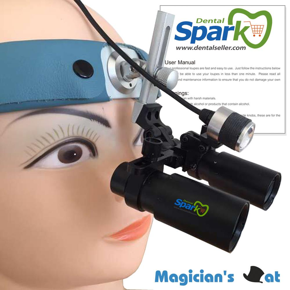 Spark 5.0x Magnification Professional Loupes with Comfortable Headband and Mounted LED Head Light Adjustable Pupil Distance  spark 2 5x magnification dentist surgical medical binocular dental loupes with comfortable headband and mounted led head light