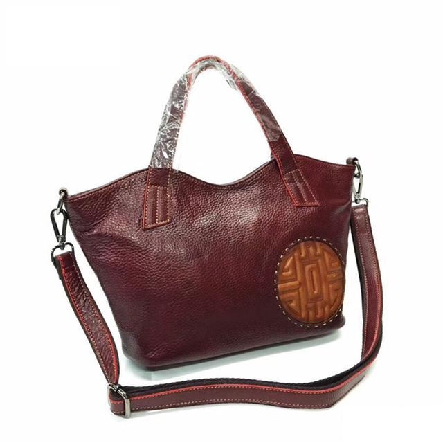 Nuleez  Genuine Leather Bag Real Leather Handbags  Women Shoulder Messenger Cross-body Bags Chinese Moon-cake embossed