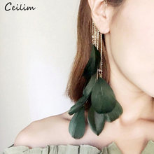 1pcs Unique Design Exaggerated 23cm Long Feather Earrings Fashion Jewelry 2018 Gold Chains Tassel Clip Earrings Without Piercing(China)