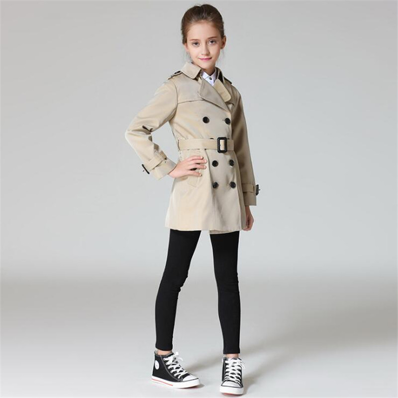 Top Grade Girls Trench Coat Spring Autumn Girls Long Coat Girls Cotton Outerwear Jackets Teenage Girls Clothing Fashion Outwear new men s military style casual fashion canvas outdoor camping travel hooded trench coat outerwear mens army parka long jackets