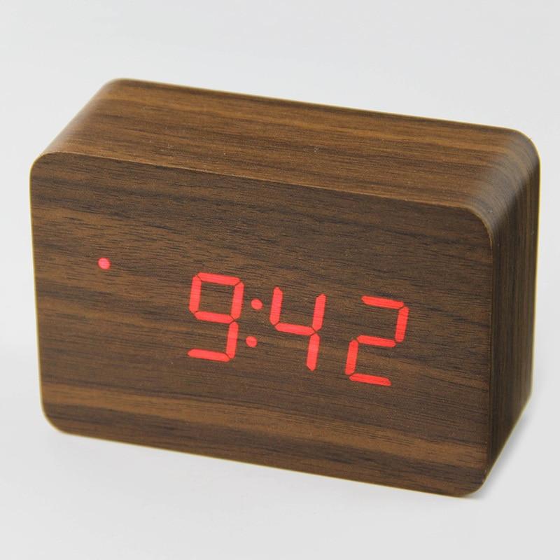 Devoted Wooden Led Temperature Control Electronic Clock Sound Control Digital Led Display Desktop Creative Wooden Table Clock Clocks