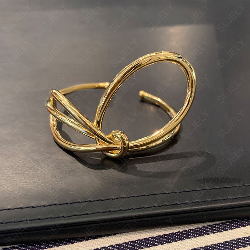 SLJELY Real 925 Sterling Silver Yellow Gold Color Toi Et Moi Knotted Open Cuff Bow knot