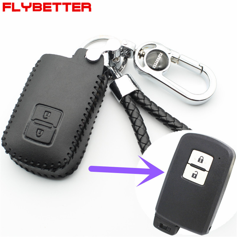 FLYBETTER Genuine Leather Car Styling 2Button Key Case Cover For Toyota Crown/Camry/Matrix/Yaris/RAV4/Avalon (B) M37