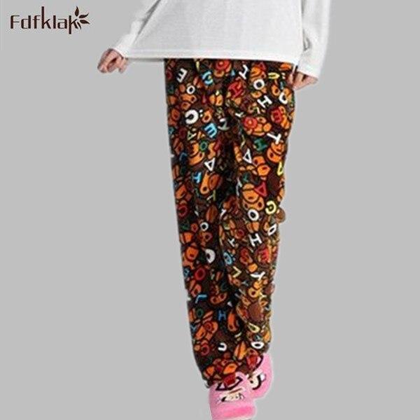 Lindo de la historieta 2016 de las nuevas mujeres pantalones de pijama de franela de los hombres pijamas pijama femme en casa pantalones casuales pantalones del salón cálido Q728
