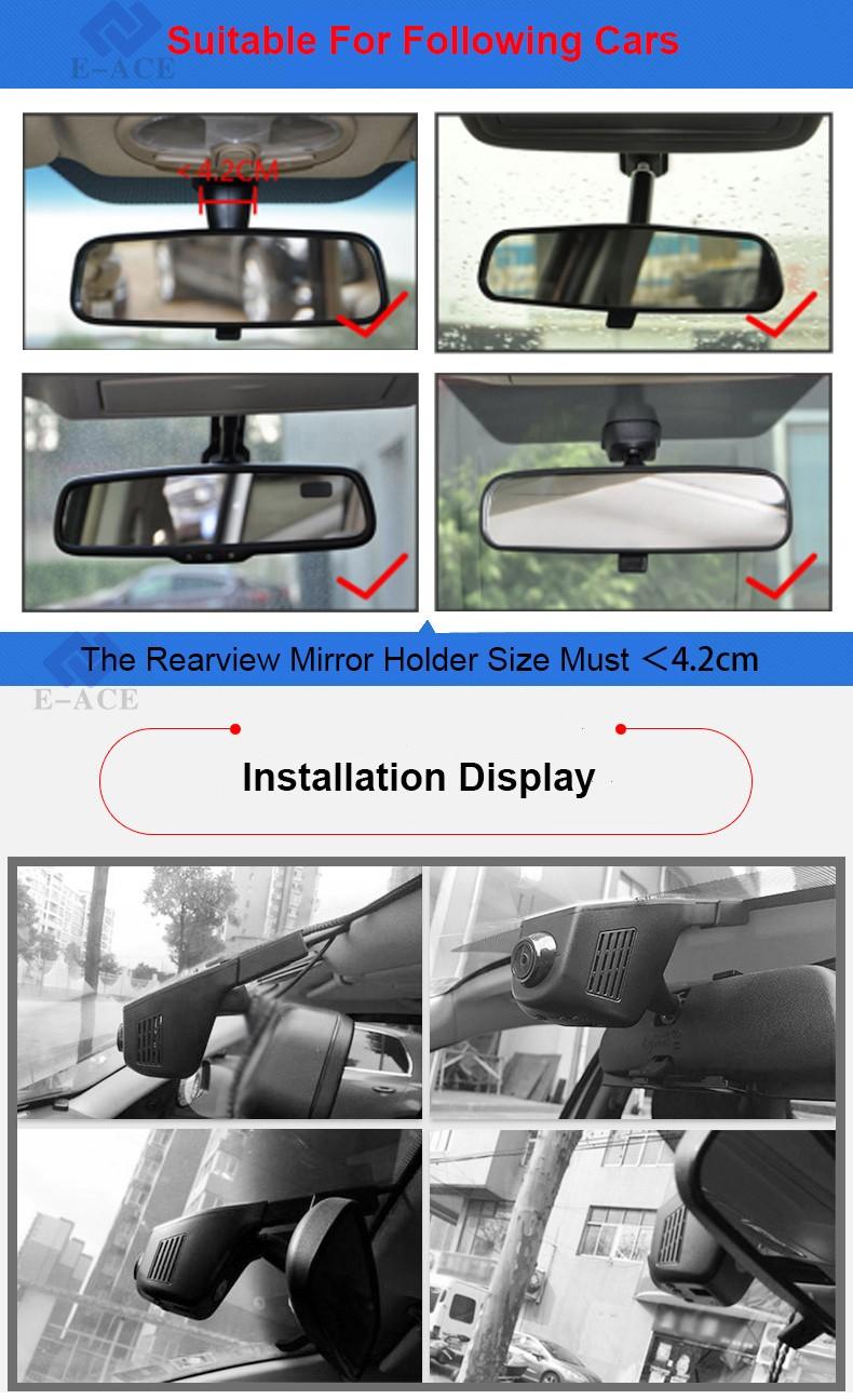 E-ACE Car Dvr WIFI DVRs Dual Camera Lens Registrator Dashcam Digital Video Recorder Camcorder Full HD 1080P 30FPS Night Version 27