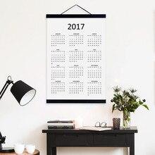 2017 Календарь Современный Китайский Куриный Новый Год Подарки Деревянные Подставил Отпечатки На Холсте Офис Home Decor Стены Искусства Плакатов Прокрутки Вешалка