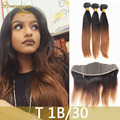 3 Pcs/lot 100g/pcs T1B/30 Virgin Malaysian Straight Hair With Frontal Malaysian Virgin Hair Straight Hair Bundles With Frontal