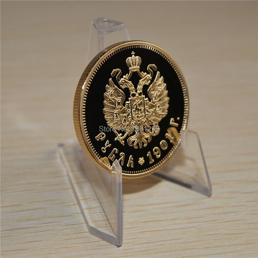 1 шт./компл.. Бесплатная доставка, 1901 год, Николай II из России, позолоченная сувенирная монета Николай II, 37,5 рублей, монета