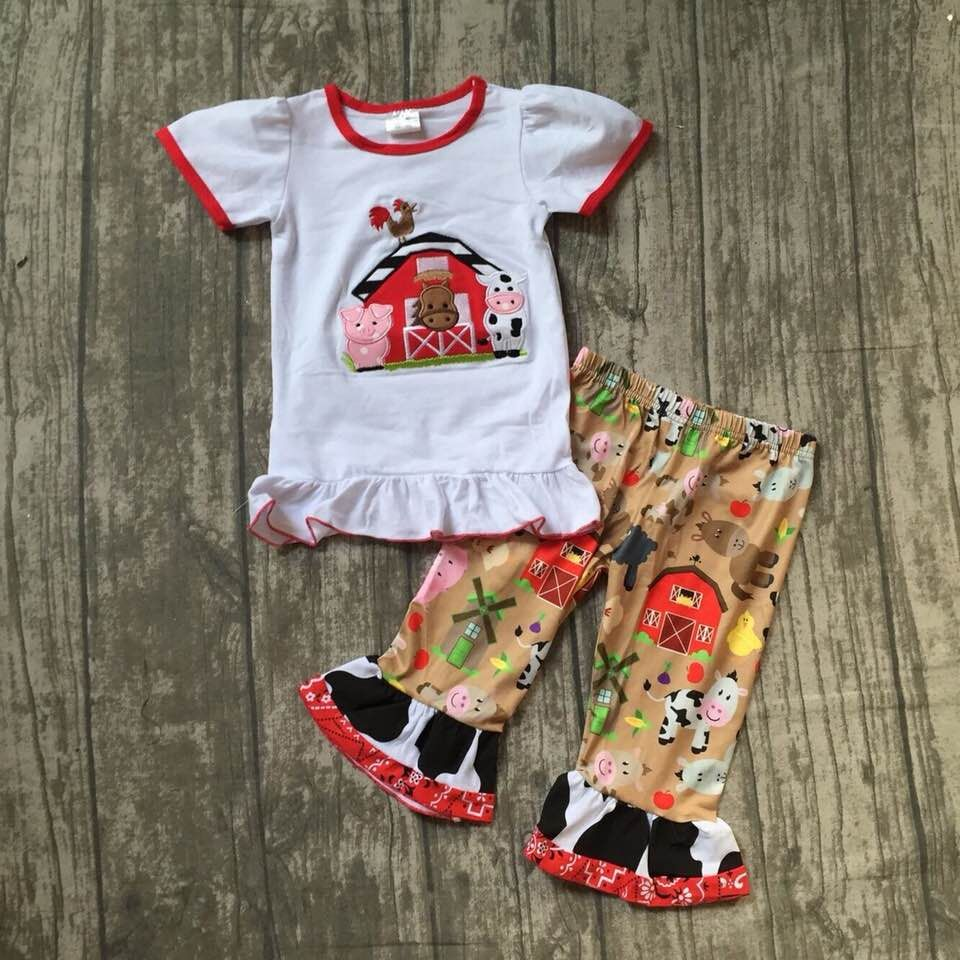 цены new arrival summer baby girls cotton children clothes farm print ruffle boutique kids outfits cotton cow farm house