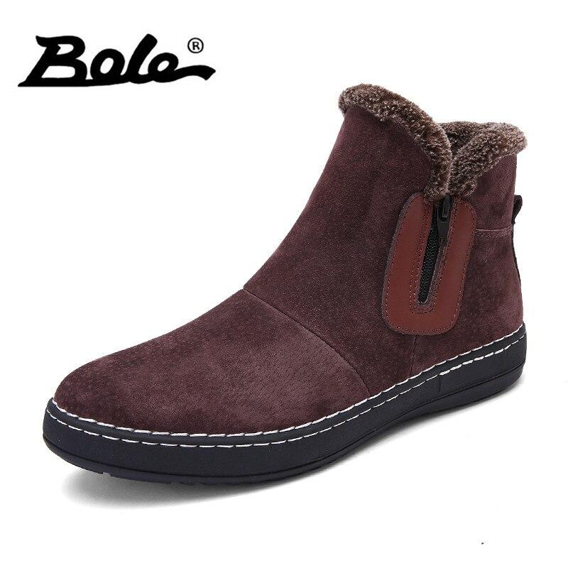 купить BOLE Fashion Handmade Cow Suede Men Boots Winter New Slip on Keeping Warm Men Snow Boots Side Zipper Furry Flats Men Ankle Boots онлайн