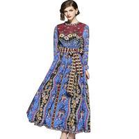 Runway Design Summer Dress Women Maxi Dress Vintage Robe Femme Abstract Vestido Verano 2018 Floral Print