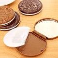 1 UNIDS Forma Galleta Chocolate Lindo Portable Cosmético Espejo de Maquillaje Chocolate Comb Señora de La Muchacha