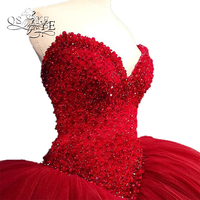 Luxury Beading Pearls Red Ball Gown Prom Dresses 2017 Vestido De Novia Sweetheart Court Train Tulle