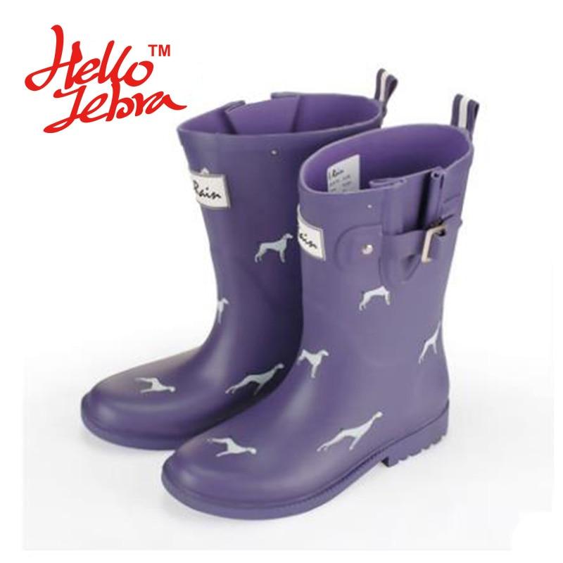 Women Fashion Printing Animals Rain Boots Ladies Solid Rubber Low Heel Slip Waterproof Buckle Rainboots 2016