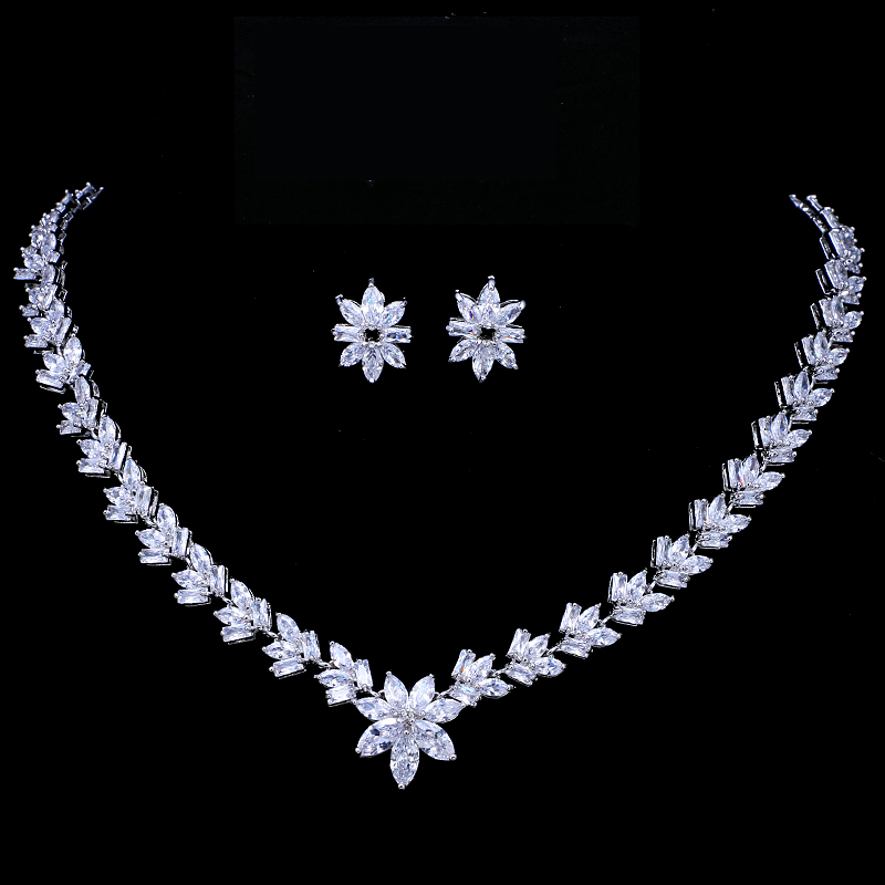 Emmaya Luxury Cubic Zircon Crystal Bridal Jewelry Sets Little Flower Necklace Earrings Sets For Women Wedding Party Jewelry Gift