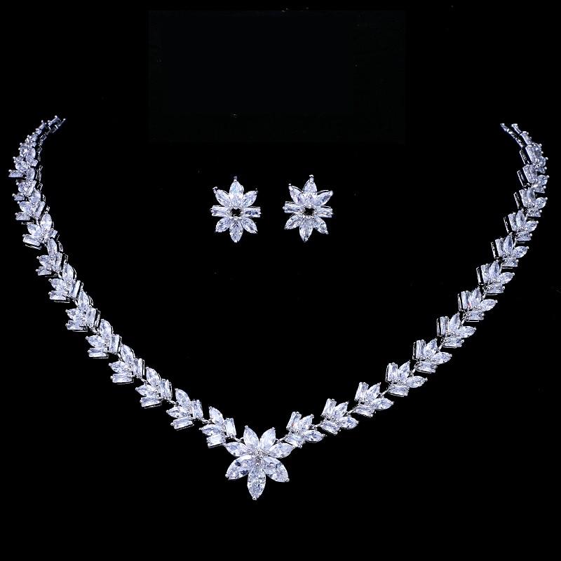 цена на Emmaya Luxury Cubic Zircon Crystal Bridal Jewelry Sets Little Flower Necklace Earrings Sets for Women Wedding Party Jewelry Gift