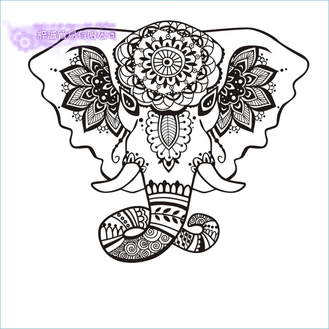 DCTAL Elephant Wall Sticker Quotes Namaste Wall Decals Yoga Mandala ...