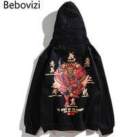 Bebovizi Brand Autumn and Winter Japan Style Warm Hooded Men Sweatshirt Streetwear Japanese Ghosts Samurai Print Hoodies 2018