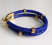 """Дизайн моды """"Шарм Браслет Из Кожи Ската Темно-Синий 5 мм Круглый Кожаный Браслет Многослойные Кожаный Браслет SW-0039"""
