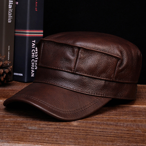 Image 2 - HL059  Mens genuine leather baseball cap hat brand new spring real leather adult solid adjustable army hats/caps
