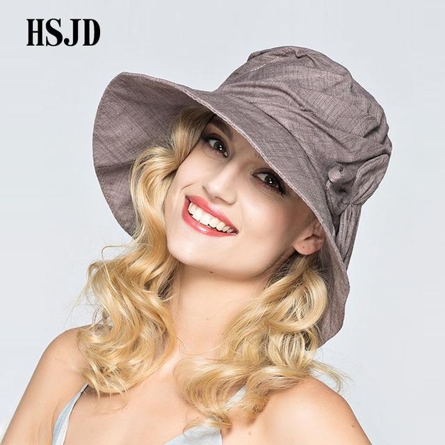 ba077bad9 2018 Women Summer Wide Brim Foldable Sun Hat Elegant Flower Cotton anti UV  Beach Outdoor Fashion Bucket Hat Cap For Lady Female-in Sun Hats from ...